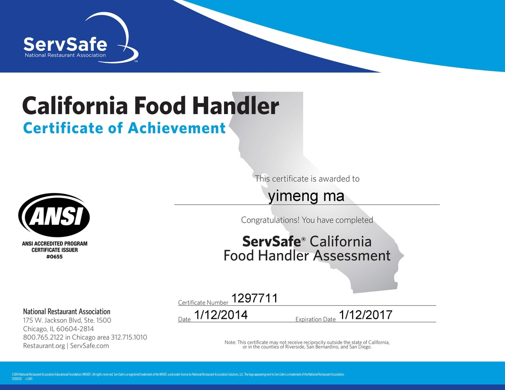 Food service certificate recipes food different foodservice lab rotations picture xflitez Gallery